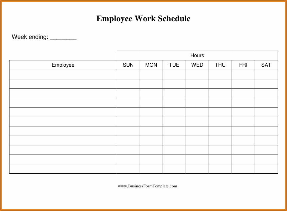 Daily Work Schedule Template Download