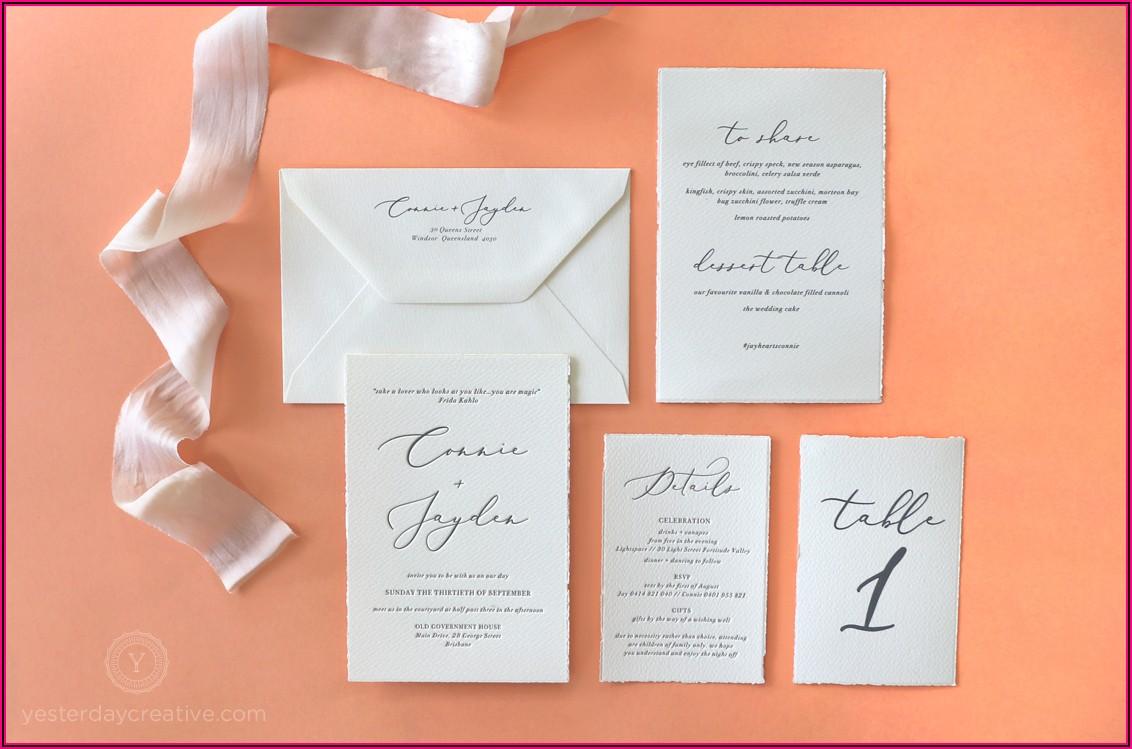 Deckle Edge Letterpress Wedding Invitations