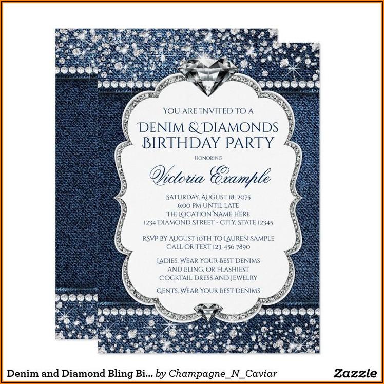 Denim And Diamonds 50th Birthday Invitations