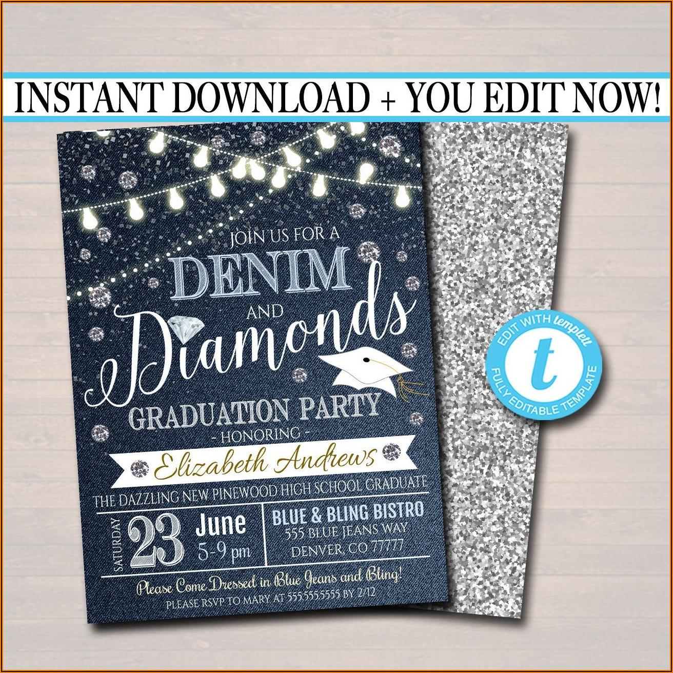 Denim And Diamonds Graduation Invitations