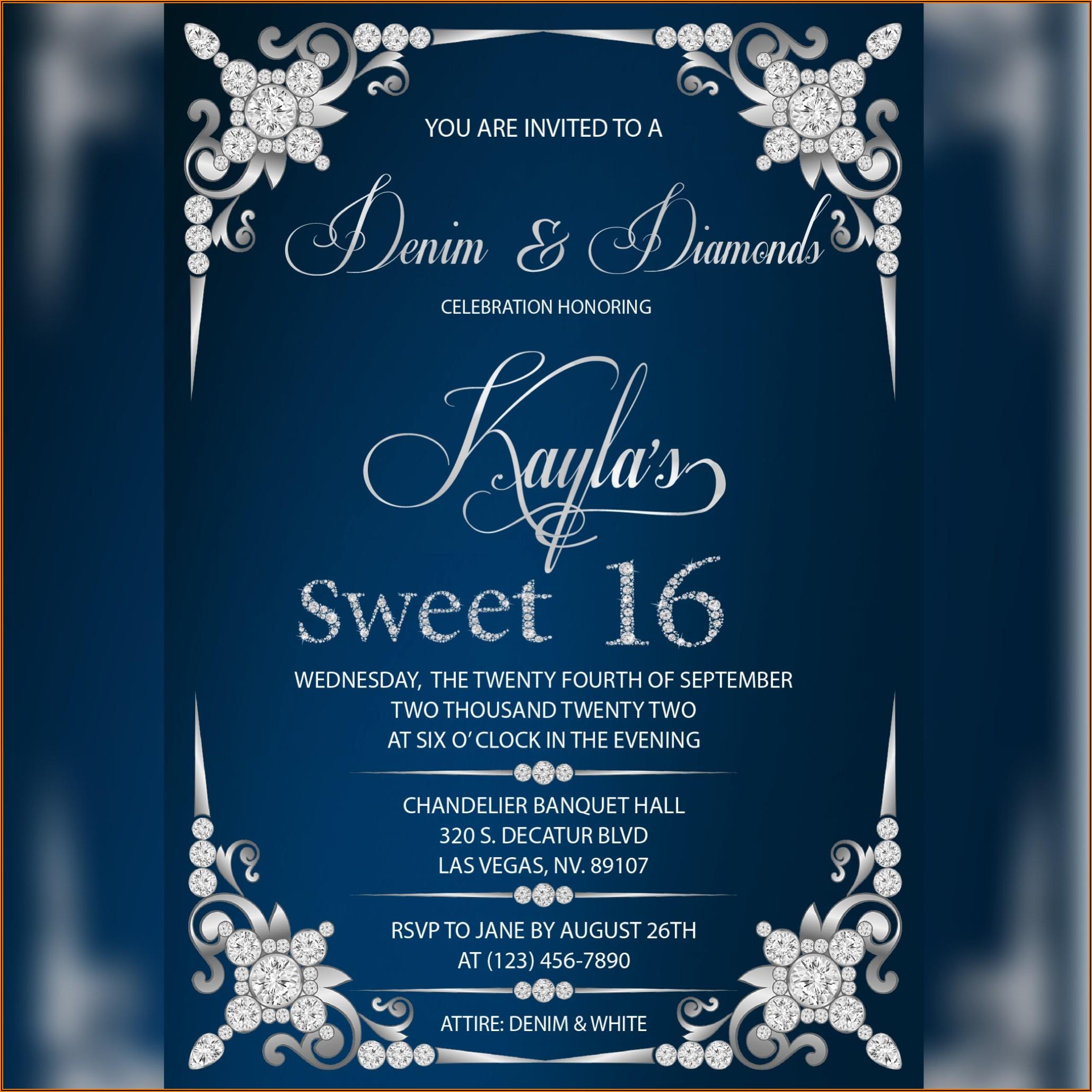 Denim And Diamonds Invitations Free