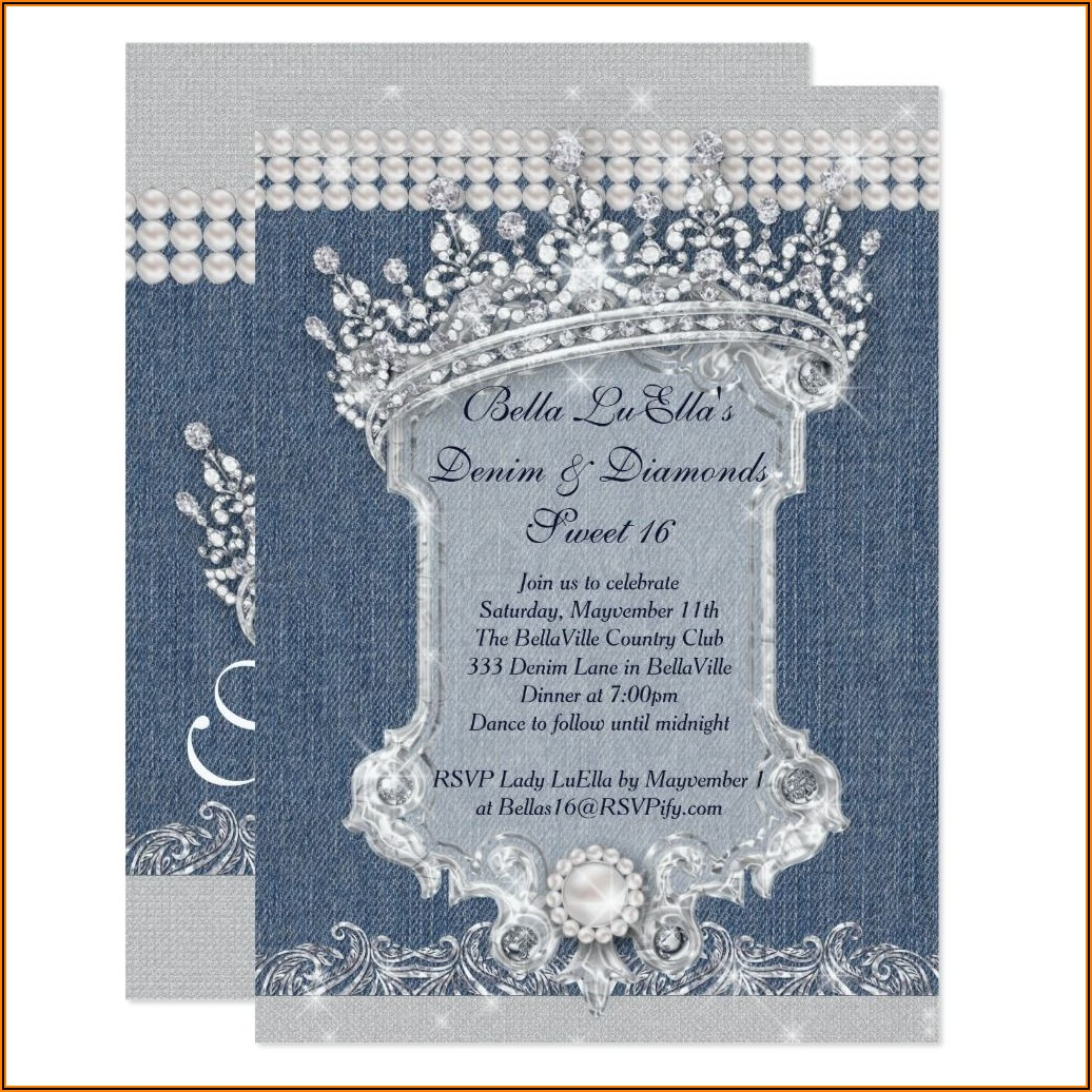 Denim And Diamonds Theme Invitations