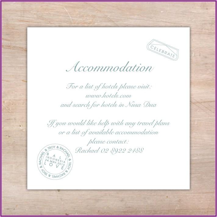 Destination Wedding Invitation Accommodation Wording