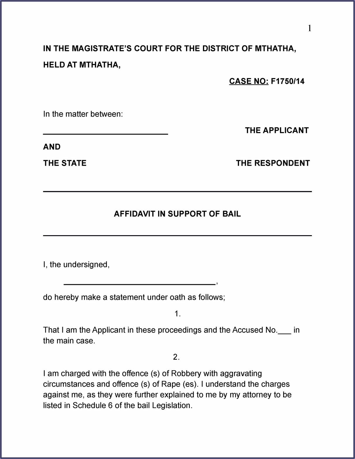 District Court Affidavit Template