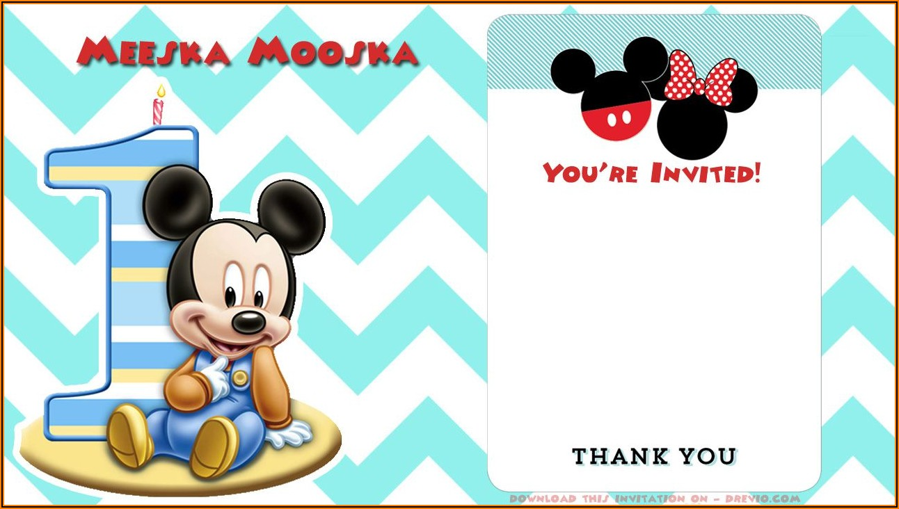 Downloadable Blank Mickey Mouse Invitation Template