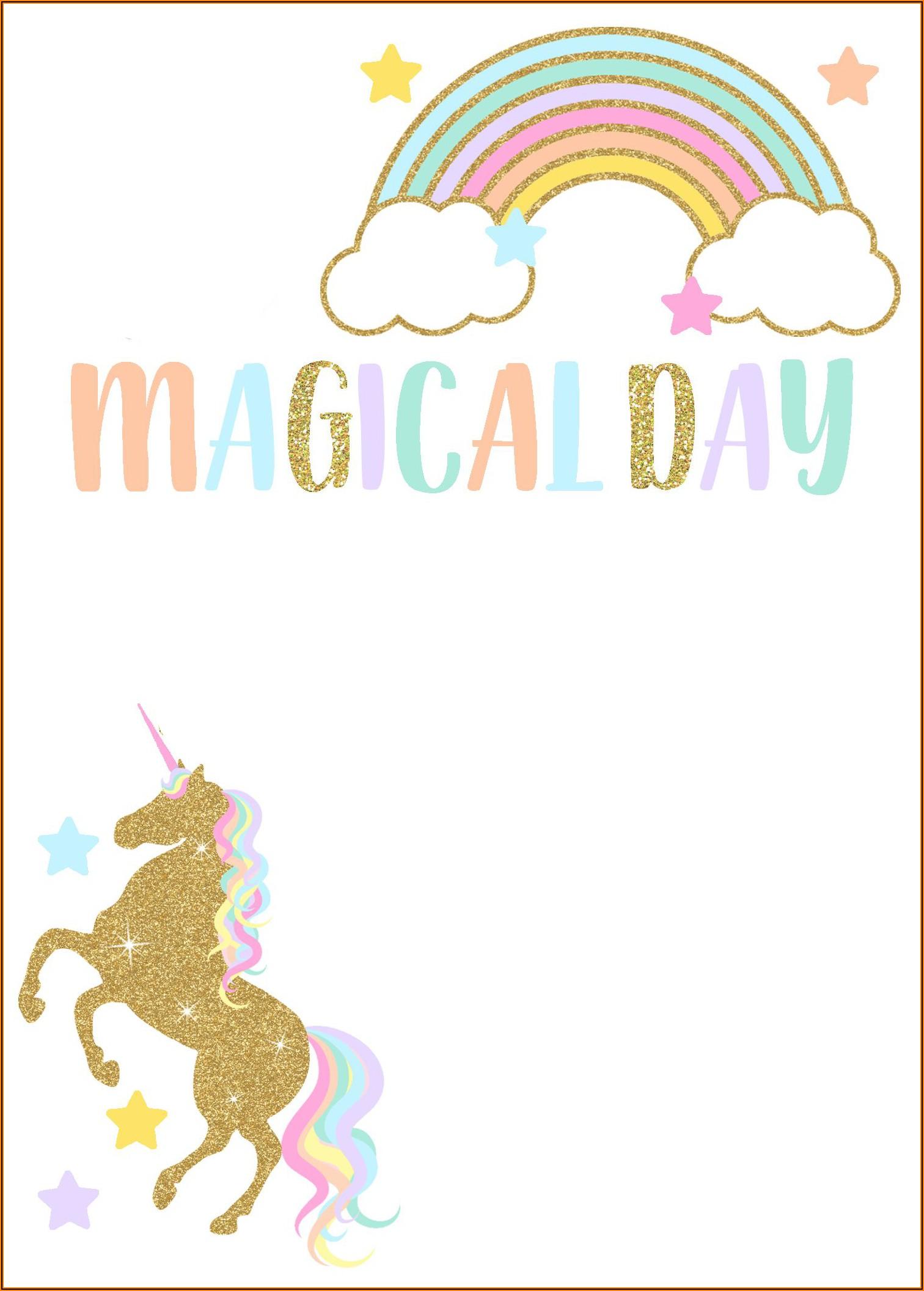 Downloadable Free Editable Unicorn Invitation