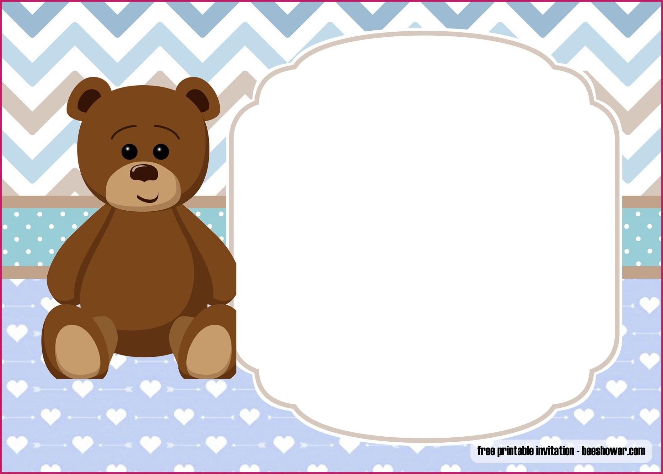 Downloadable Teddy Bear Invitation Template Free