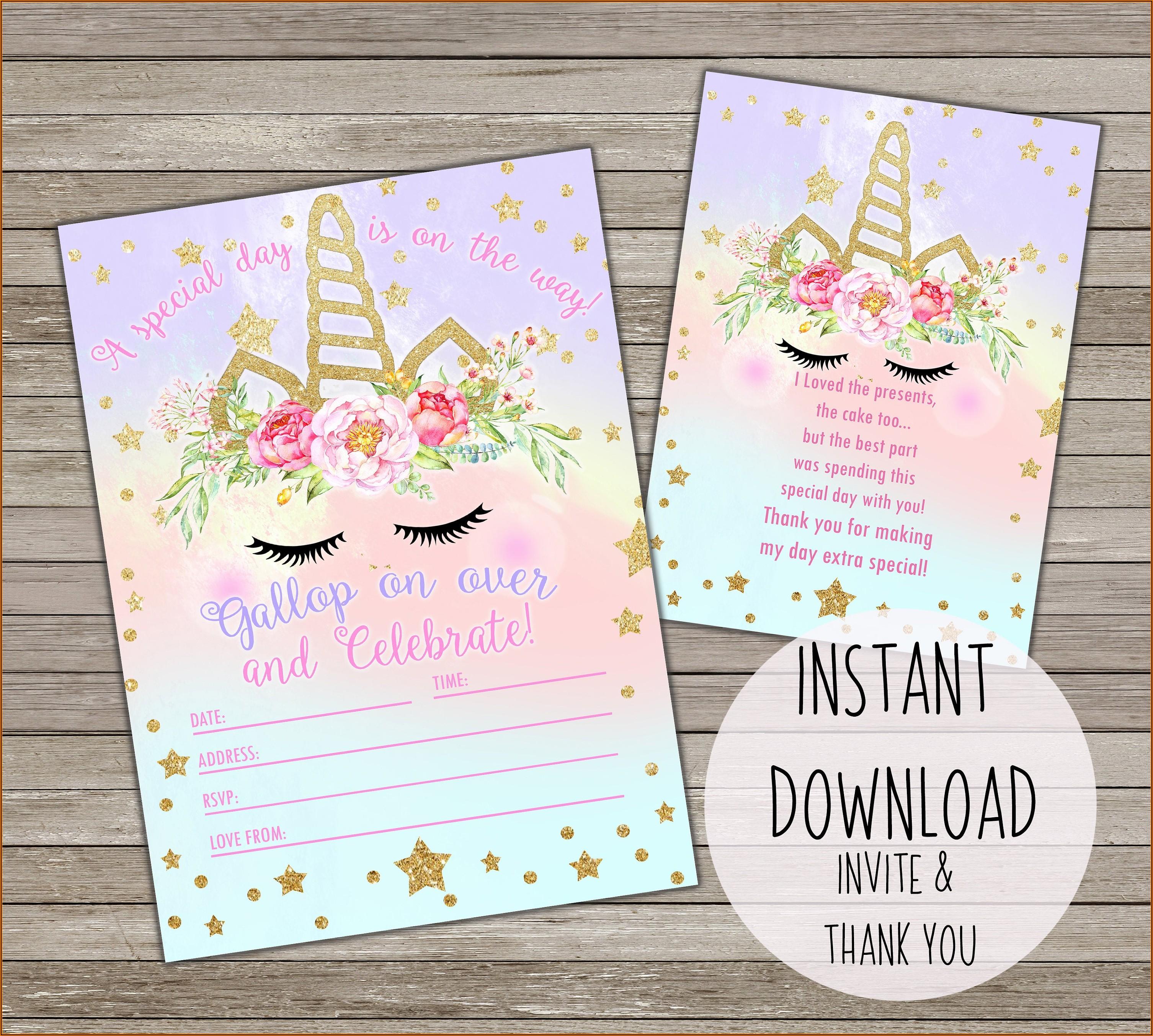 Downloadable Template Free Editable Unicorn Invitation