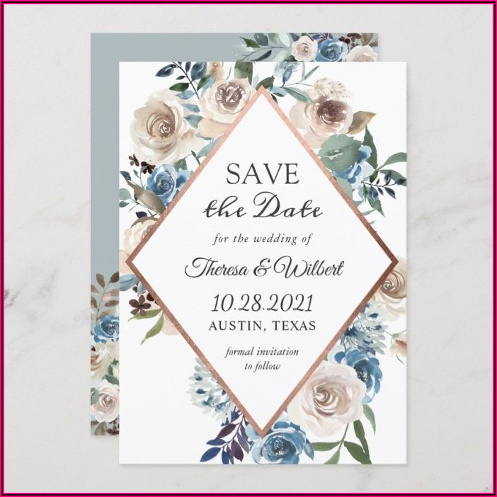 Dusty Rose And Gold Wedding Invitations