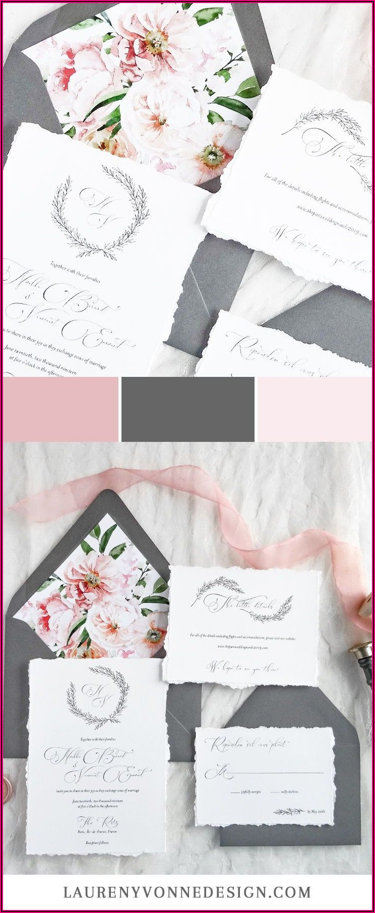 Dusty Rose And Gray Wedding Invitations