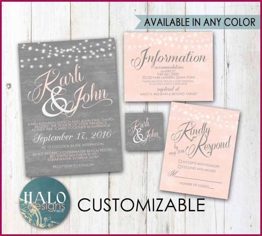 Dusty Rose And Grey Wedding Invitations