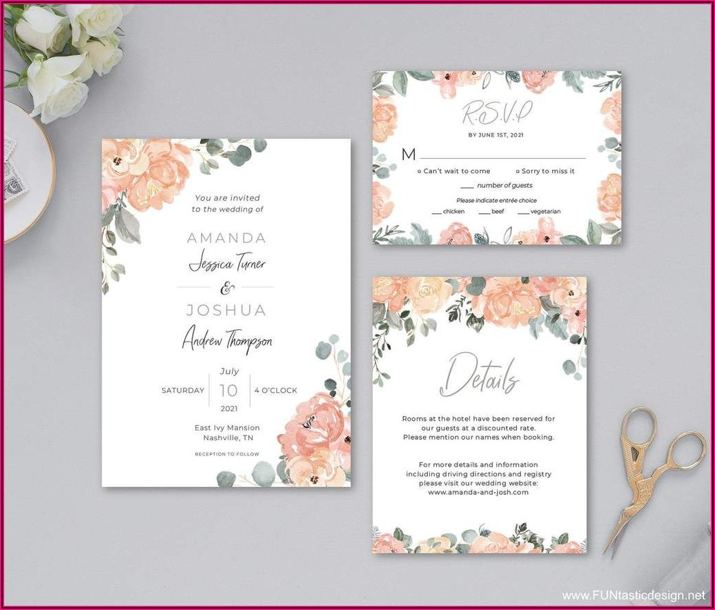 Dusty Rose And Sage Wedding Invitations