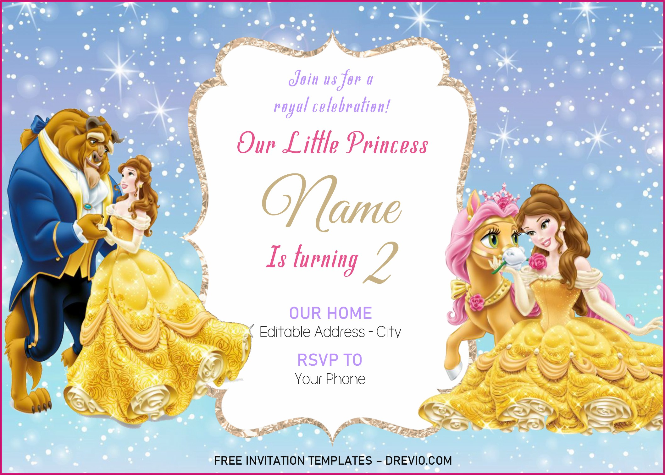 Editable Downloadable Disney Princess Invitation Template