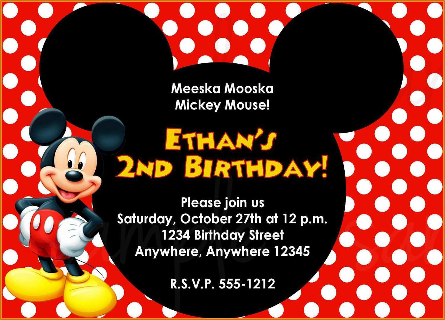Editable Mickey Mouse Invitation Template