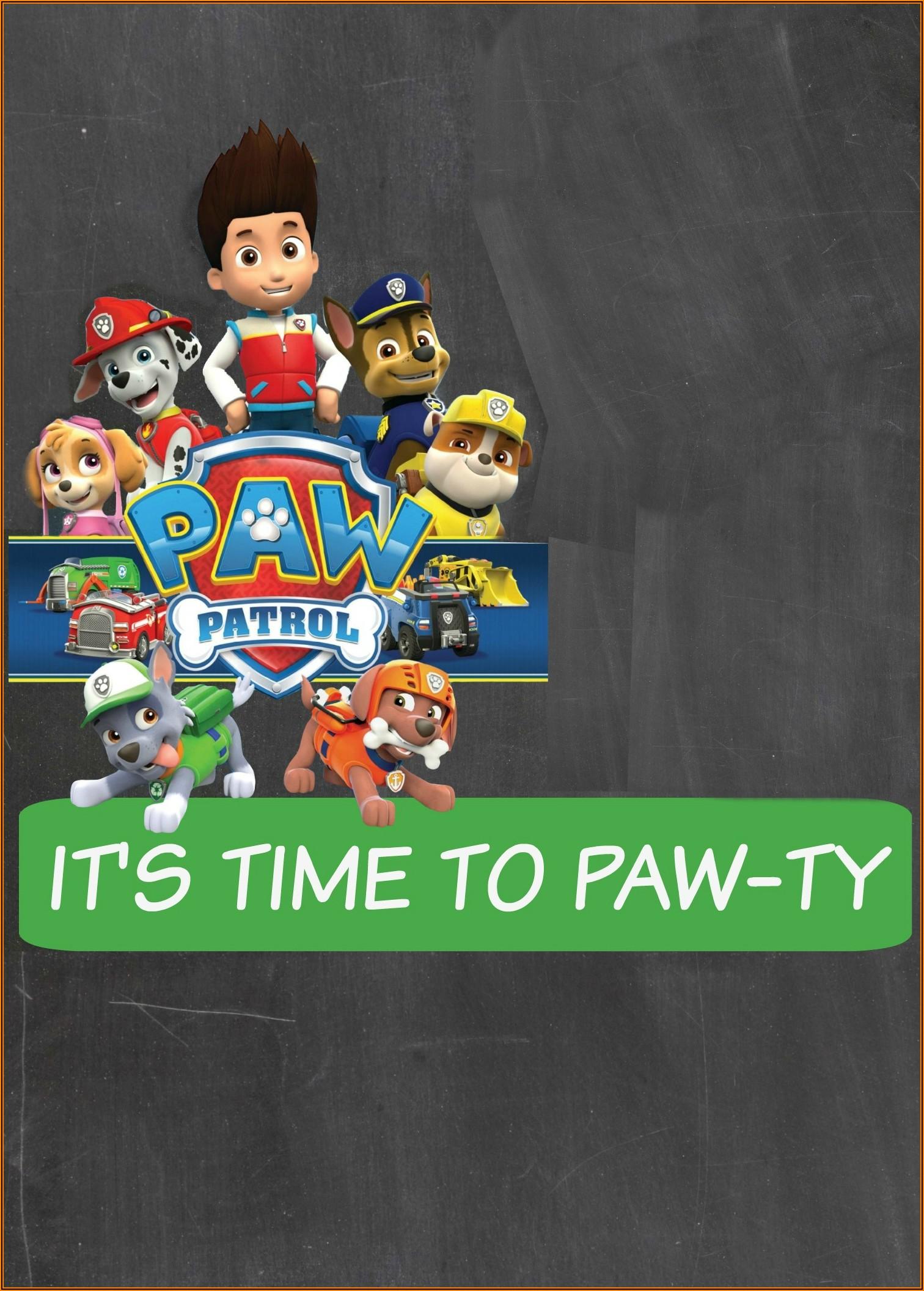 Editable Paw Patrol Birthday Invitations Templates Free