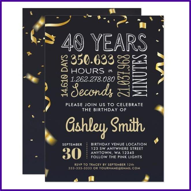 Elegant 40th Birthday Invitations