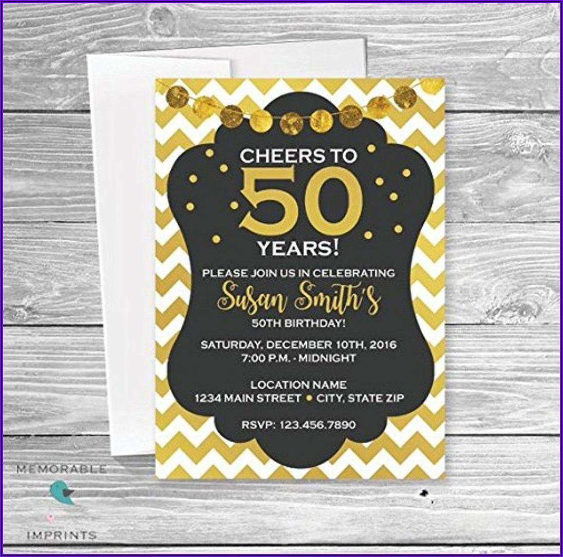 Elegant 50th Birthday Invitations For Her