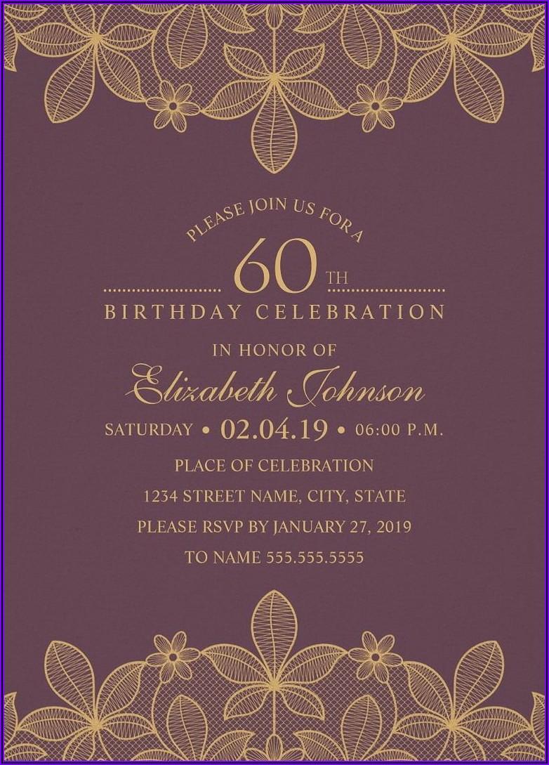 Elegant 60th Birthday Invitations