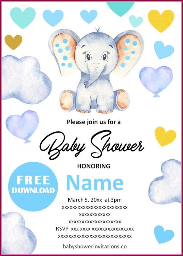 Elephant Baby Shower Invitations Templates Free