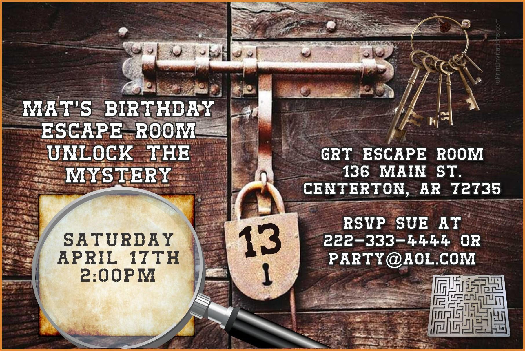 Escape Room Birthday Invitations