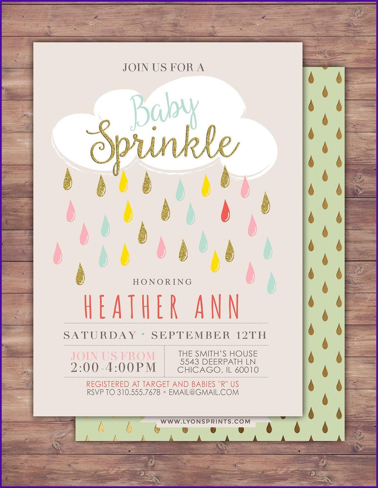 Etsy Baby Girl Sprinkle Invitations