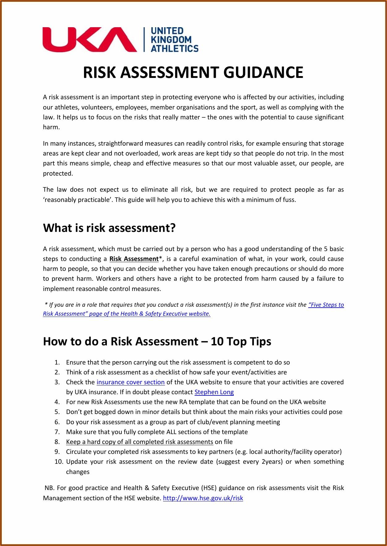 Event Risk Assessment Document