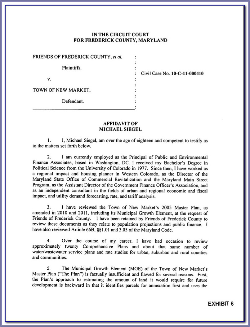 Family Court Affidavit Template