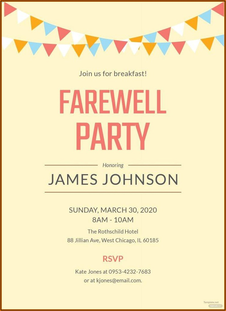 Farewell Dinner Invitation Email Template