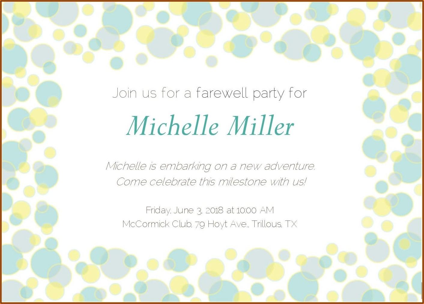 Farewell Dinner Invitation For Coworker