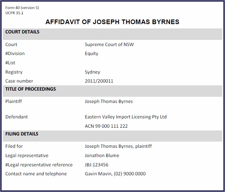 Federal Court Affidavit Template