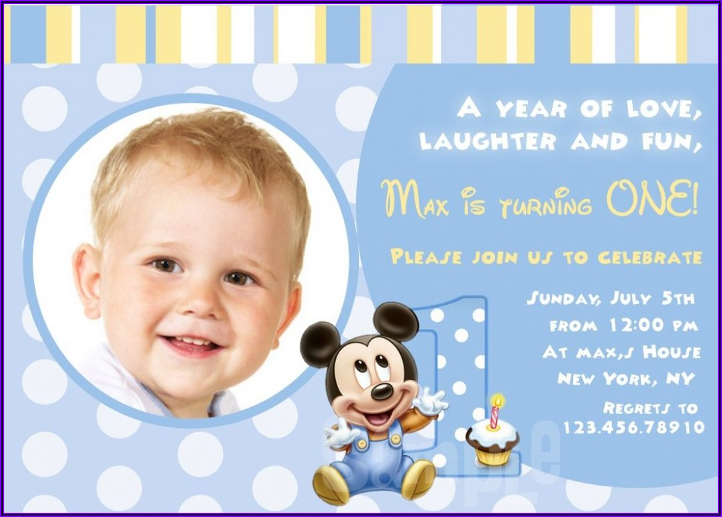 First Birthday Invitation Message For Baby Boy