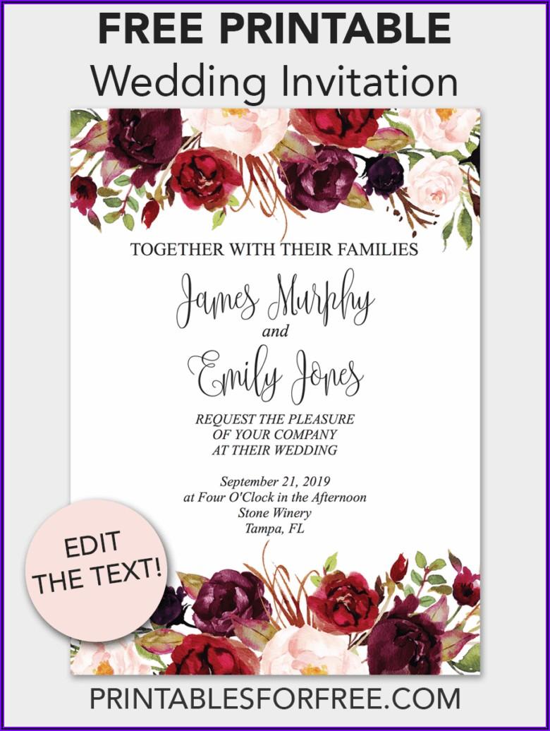 Floral Editable Wedding Invitation Templates Free Download