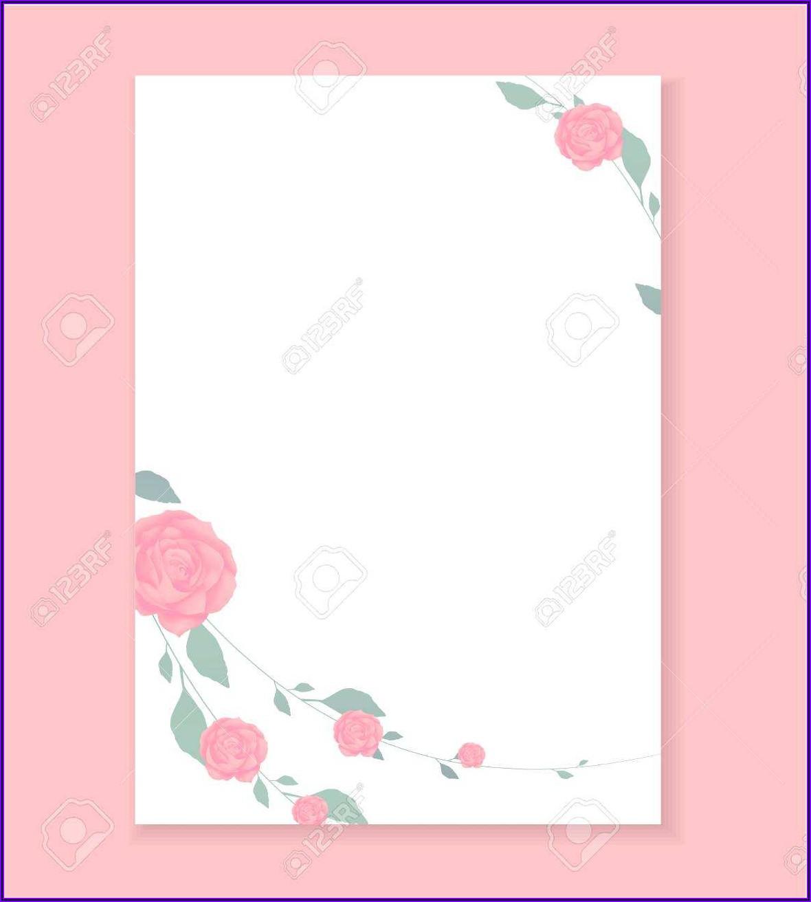 Floral Wedding Invitation Blank Template