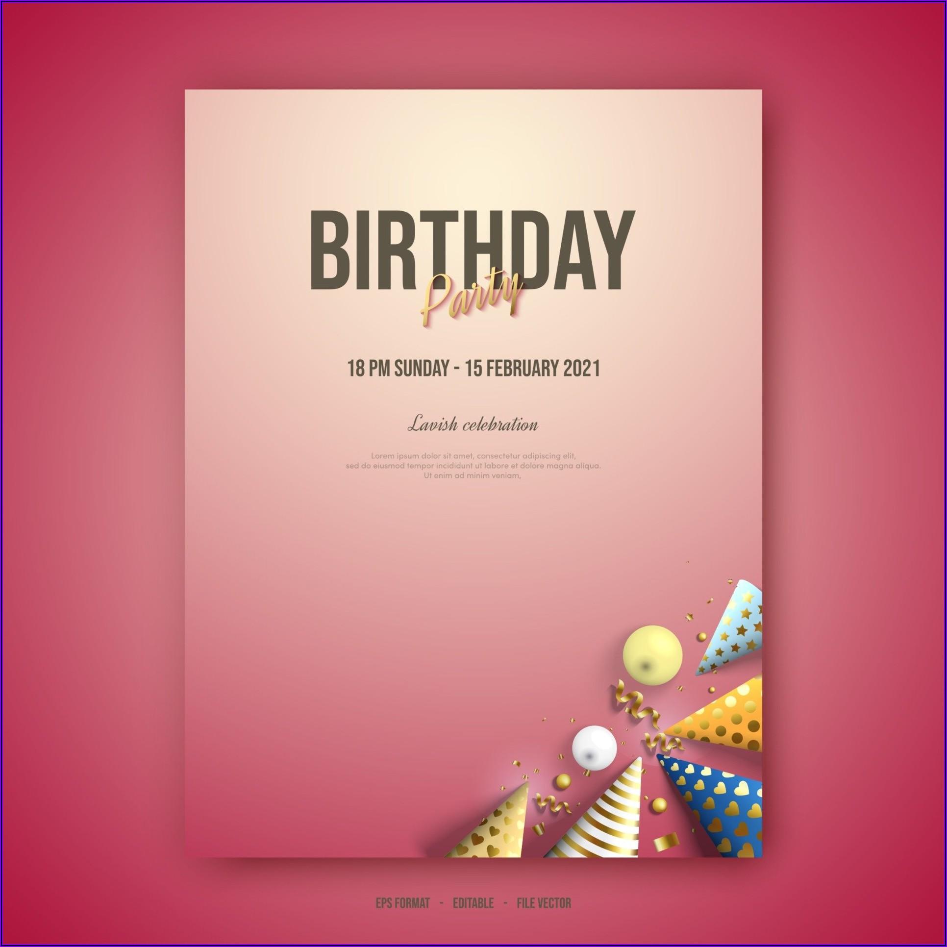 Formal Birthday Invitation Card