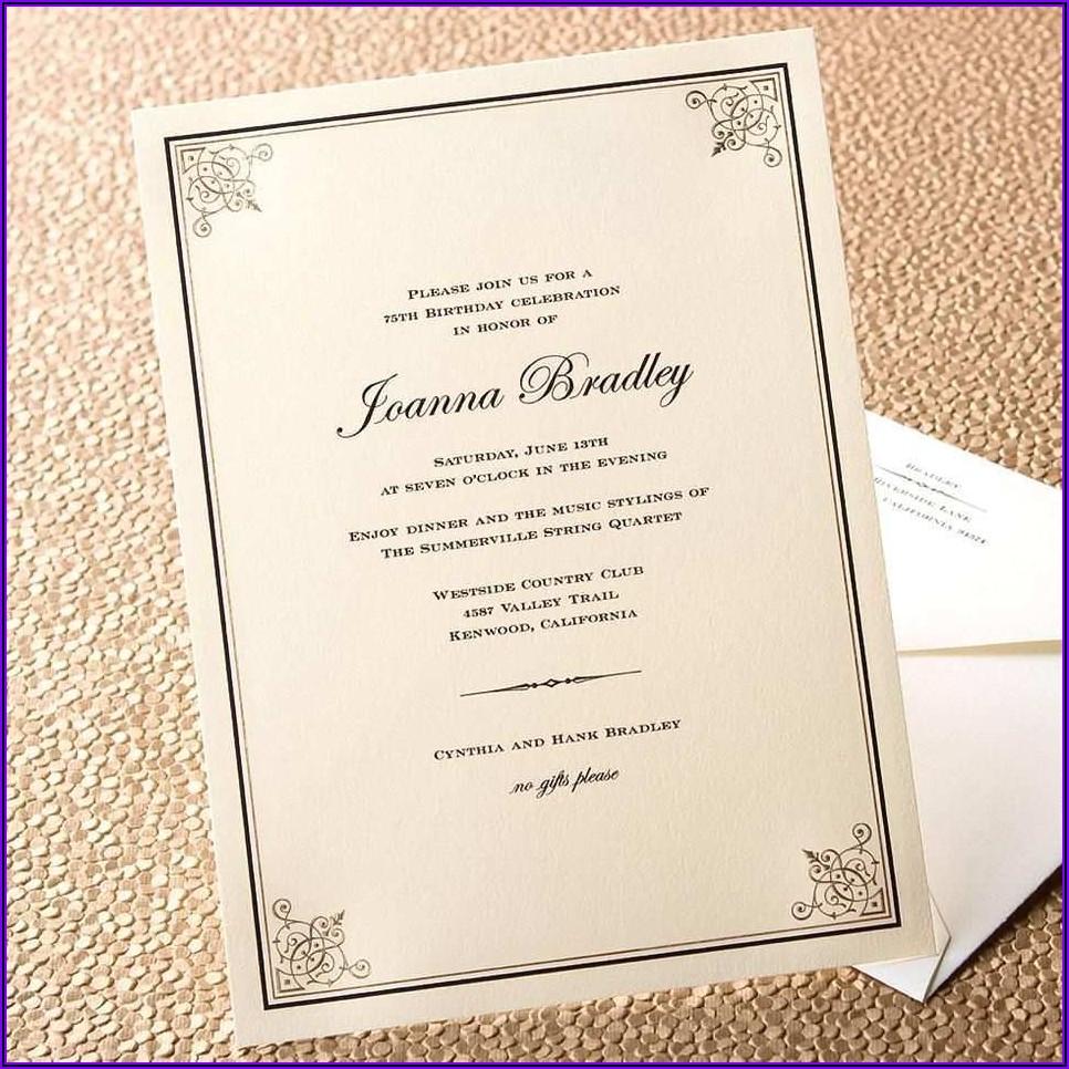 Formal Birthday Invitations Templates
