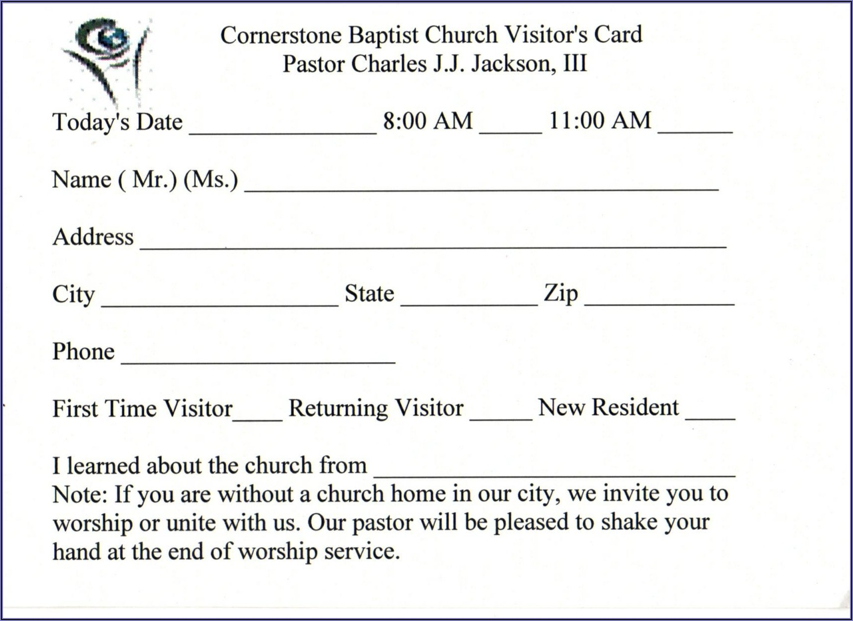 Free Church Membership Card Template