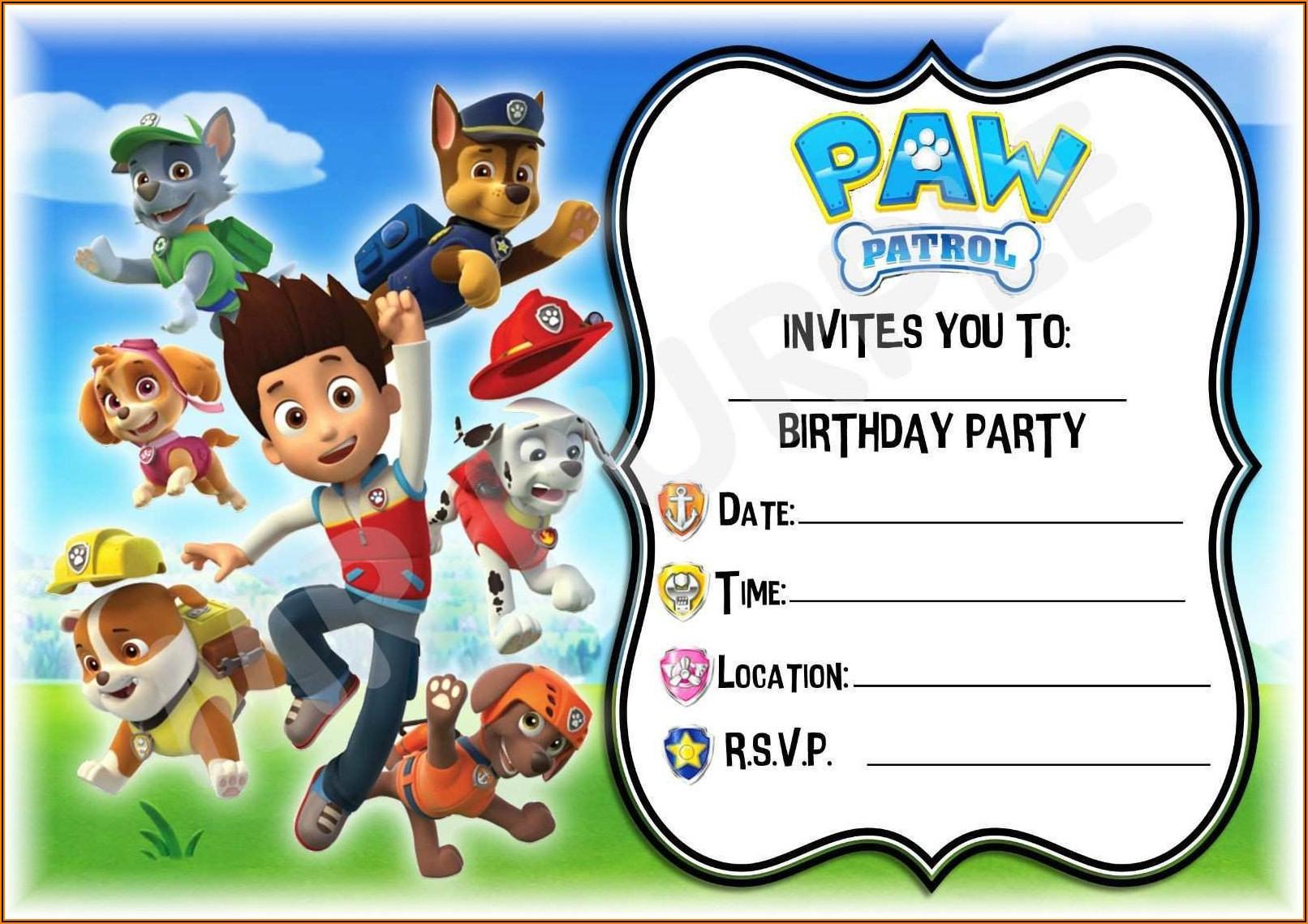 Free Customizable Paw Patrol Invitations