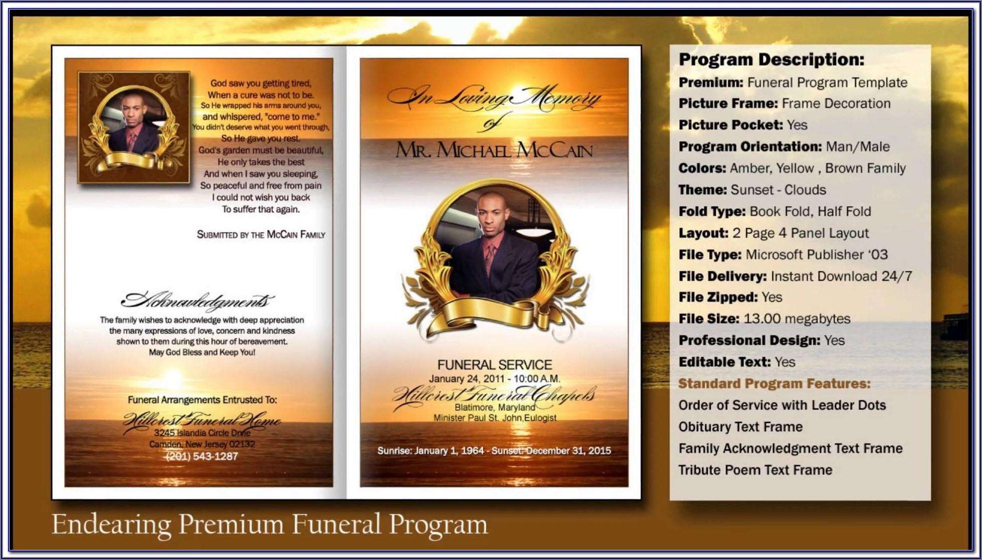 Free Editable Funeral Program Template Microsoft Publisher