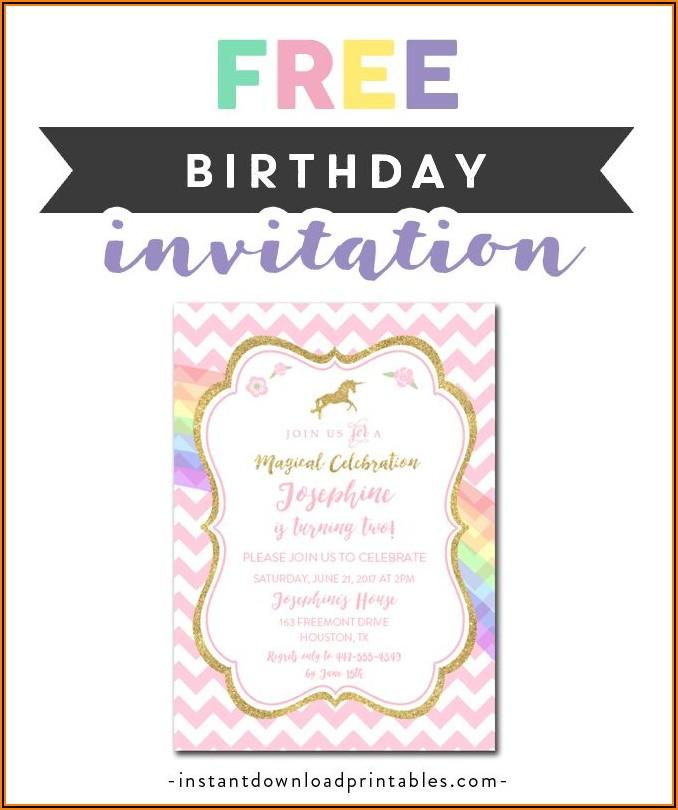 Free Editable Unicorn Birthday Invitation