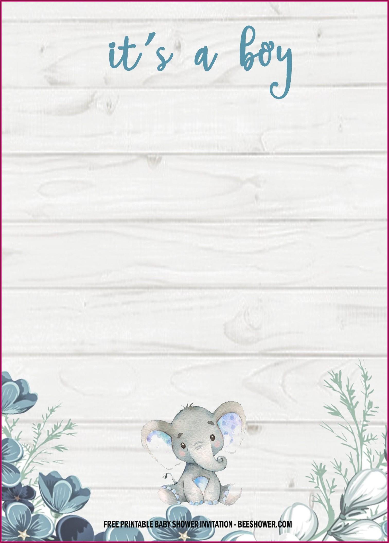 Free Elephant Baby Shower Invitations Templates Pdf