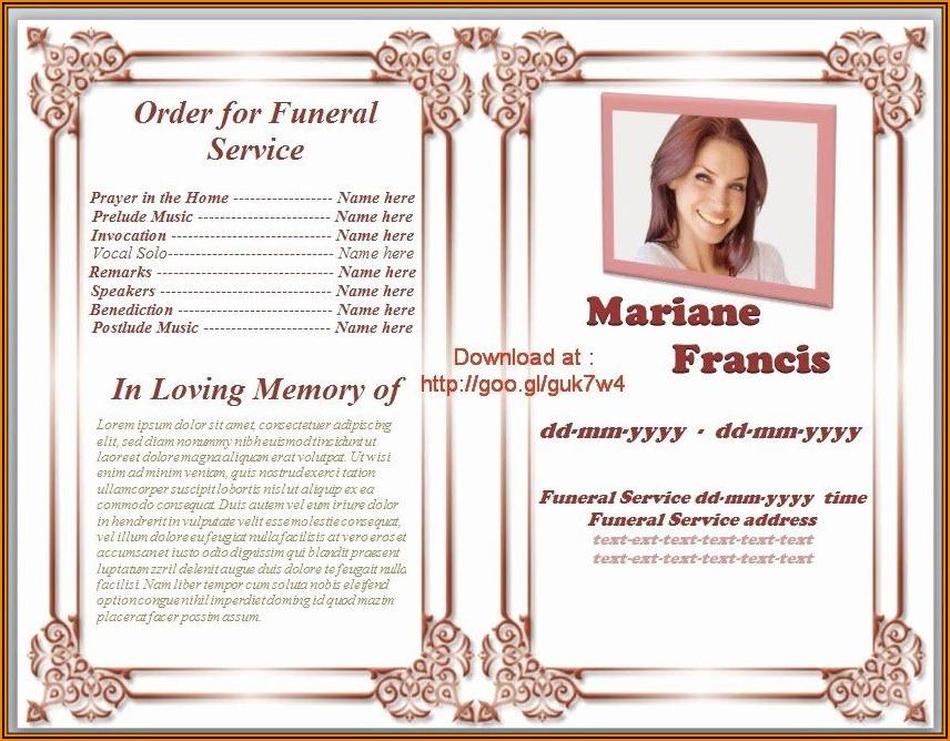 Free Memorial Program Template Word