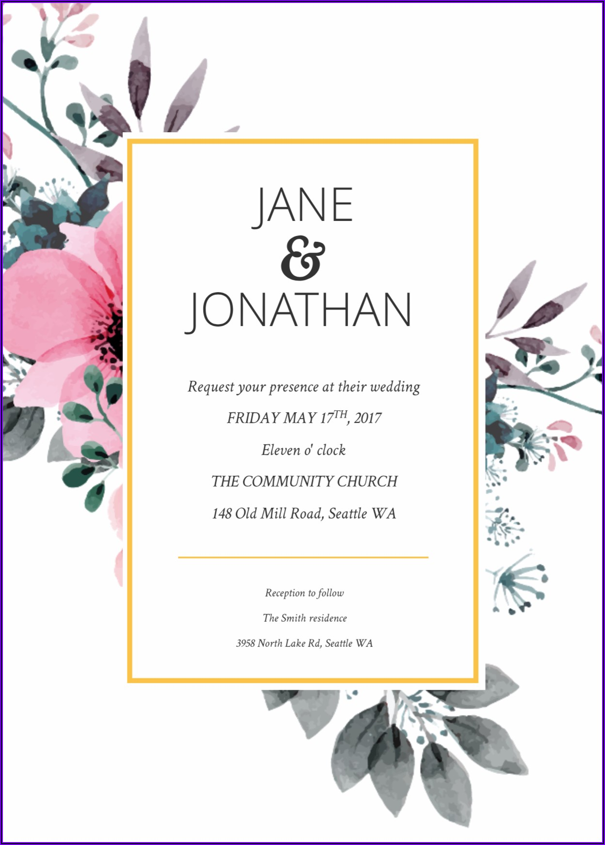 Free Online Floral Invitation Template