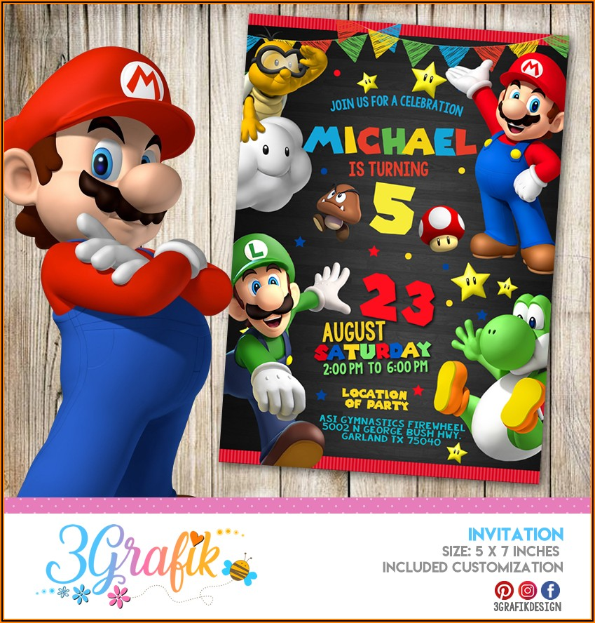 Free Online Super Mario Birthday Invitations