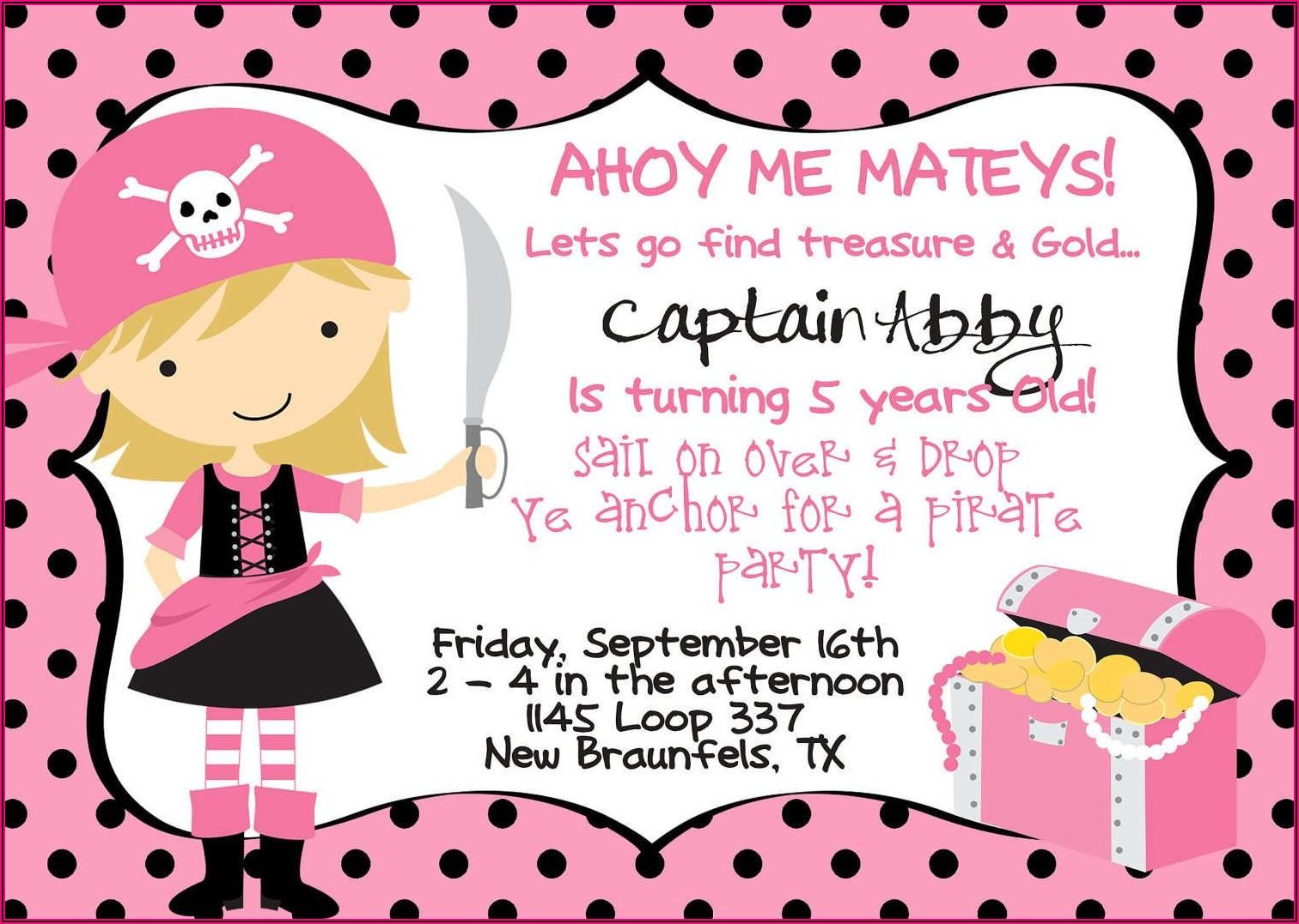 Free Printable Girl Pirate Birthday Invitations