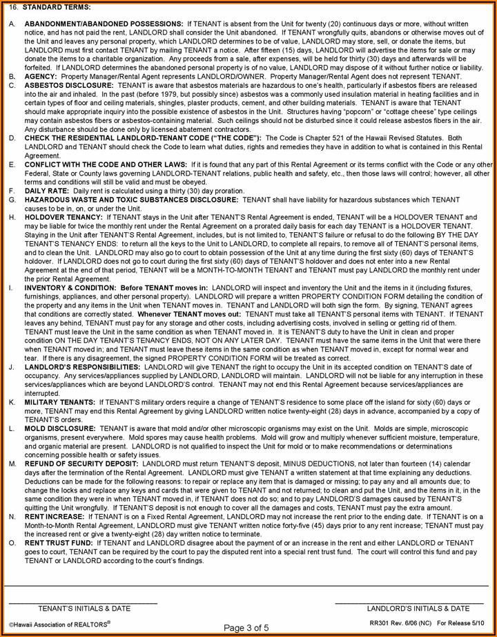 Free Printable Hawaii Rental Agreement Template