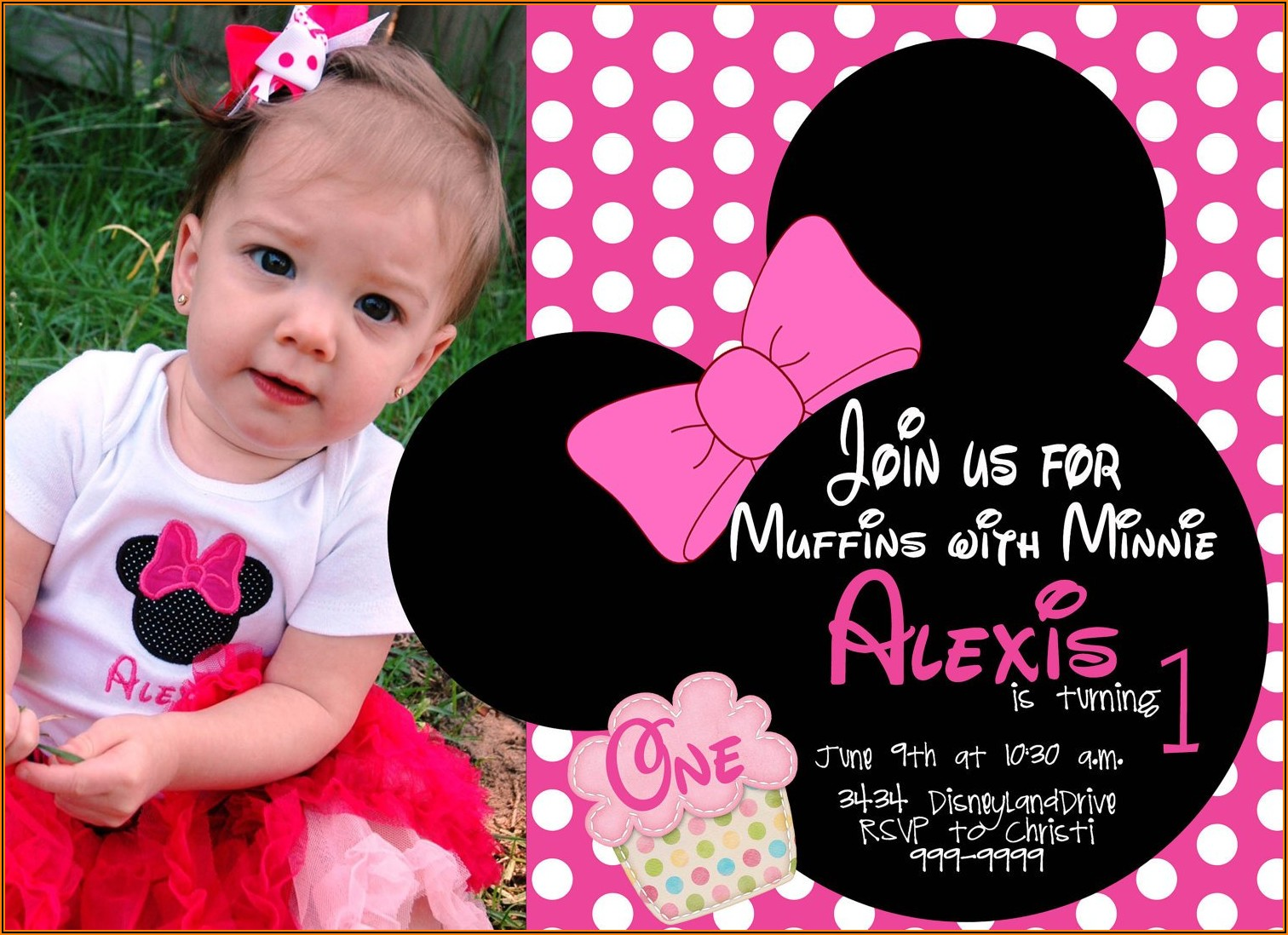 Free Printable Minnie Mouse First Birthday Invitations