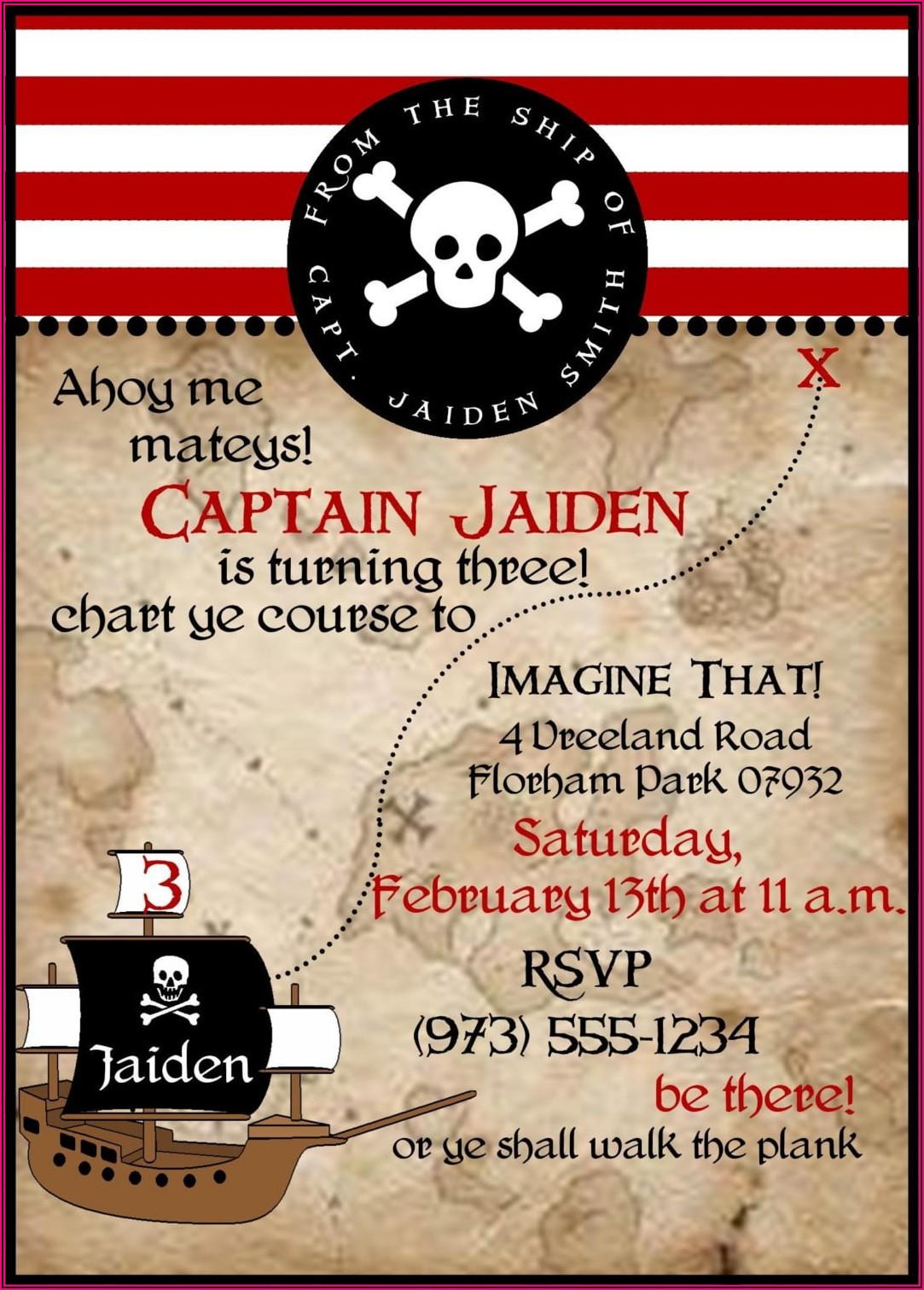 Free Printable Pirate Birthday Invitation Templates