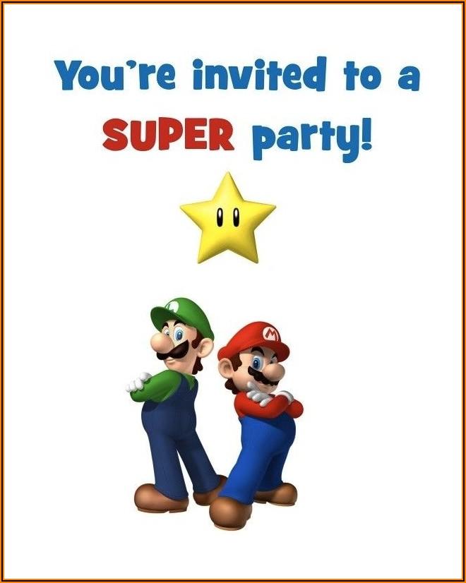 Free Printable Super Mario Birthday Party Invitations