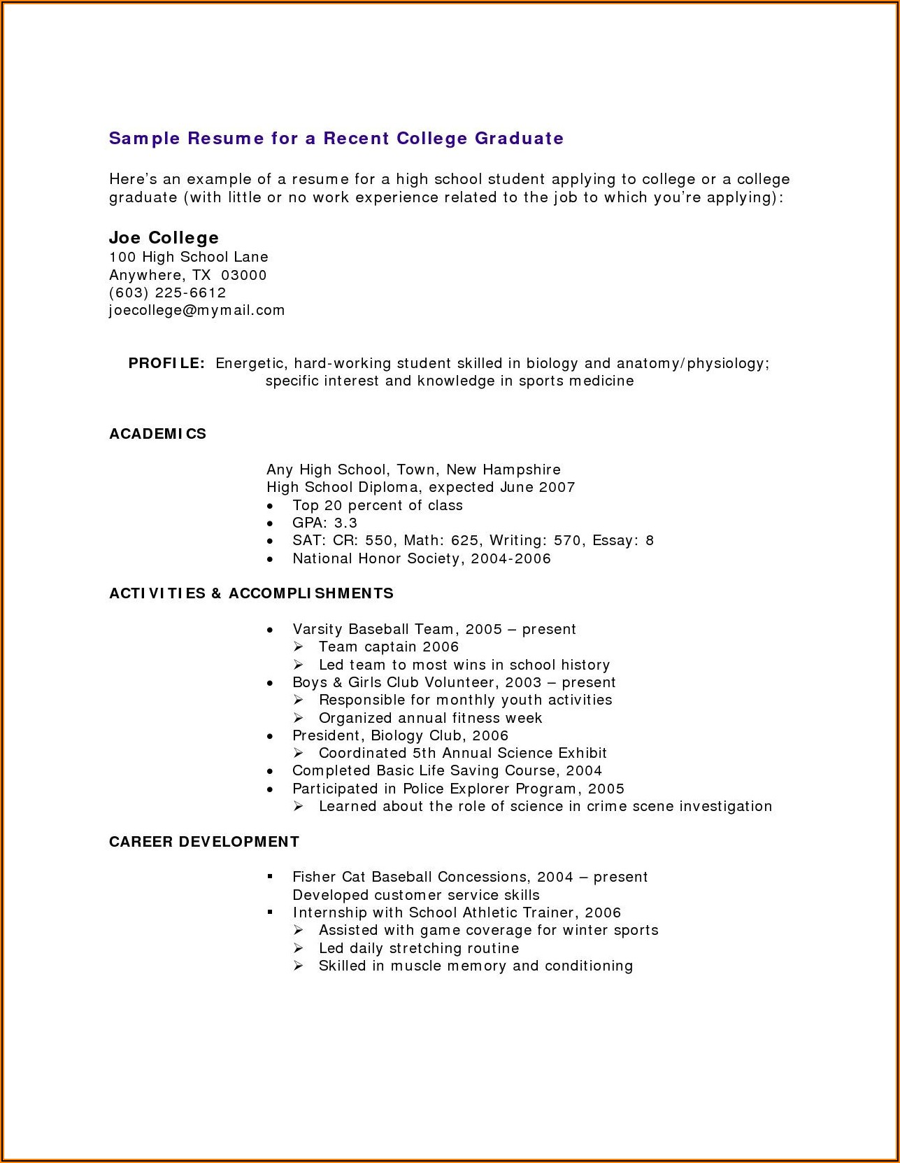Free Resume Templates For High School Students With No Experience