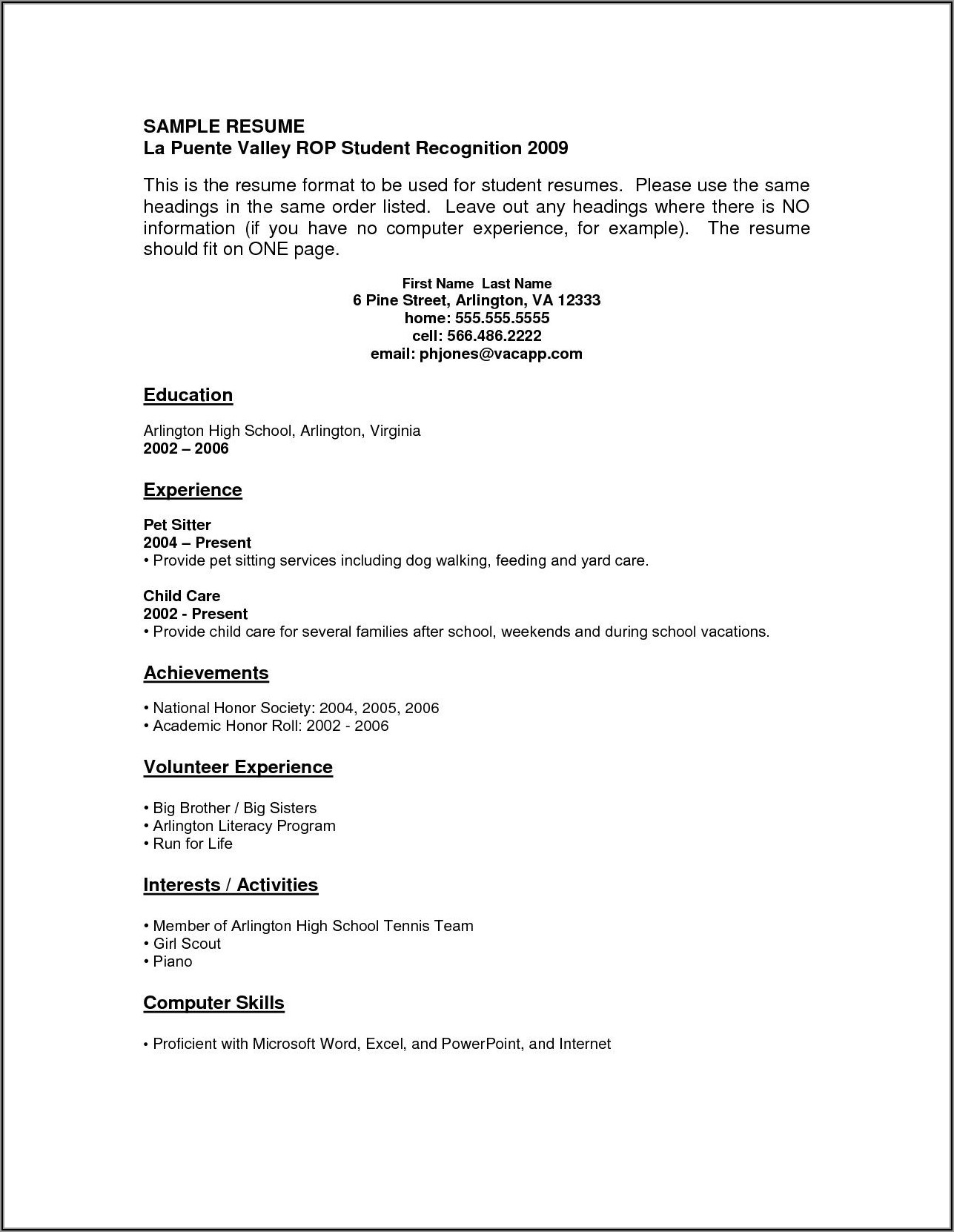 Free Resume Templates For High School Students With No Work Experience